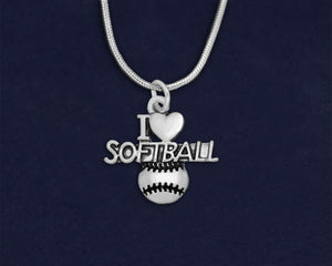 12 I Love Softball Necklaces (12 Necklaces)