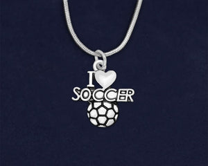 12 I Love Soccer Charm Necklaces (12 Necklaces)