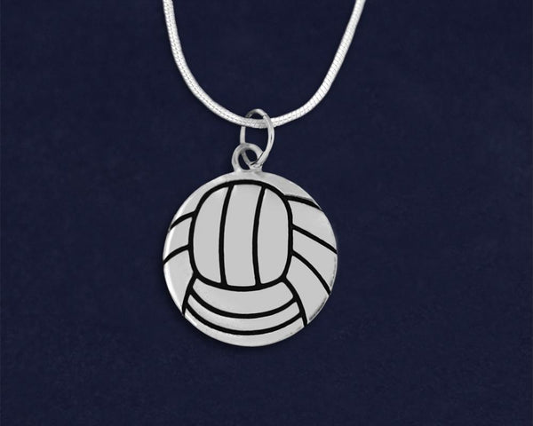12 Volleyball Shaped Charm Necklaces (12 Necklaces)