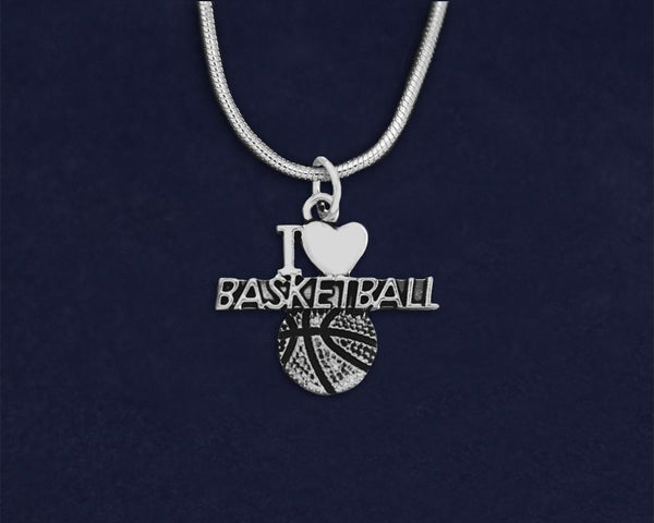 12 I Love Basketball Charm Necklaces (12 Key Necklaces)