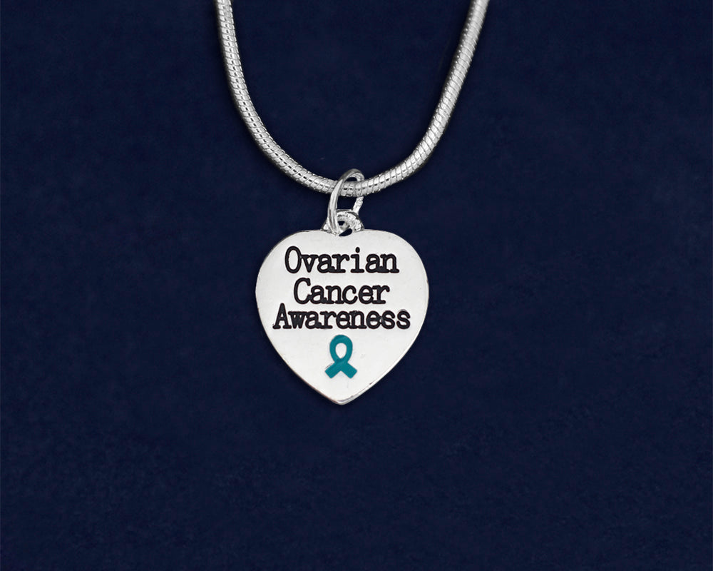 Teal Ribbon Ovarian Cancer Awareness Heart Necklaces Wholesale Fundraising For A Cause