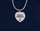 12 Epilepsy Awareness Heart Necklaces (12 Necklaces)