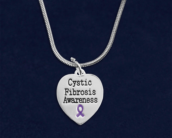 12 Cystic Fibrosis Awareness Heart Necklaces (12 Necklaces)