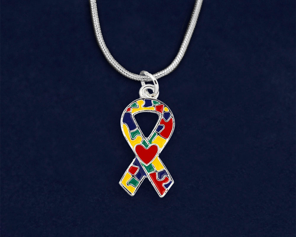 Autism Ribbon with Heart Necklaces  - Fundraising For A Cause