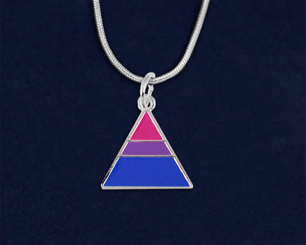 12 Triangle Bisexual Pride Necklaces (12 Pride Necklaces)