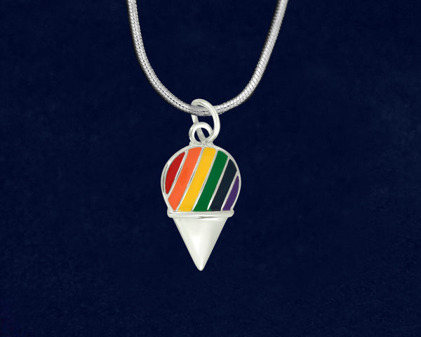 12 Rainbow Ice Cream Cone Gay Pride Necklaces (12 Pride Necklaces)