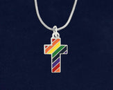 12 Rainbow Cross Gay Pride Necklaces (12 Pride Necklaces)