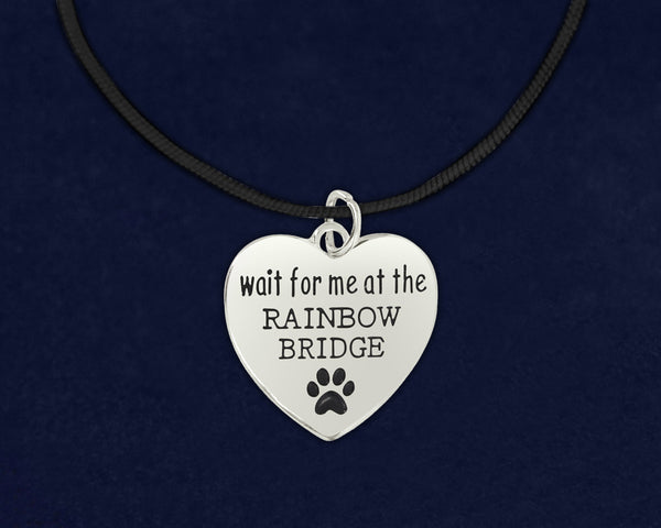 12 Wait For Me At The Rainbow Bridge Leather Cord Necklaces (12 Necklaces)