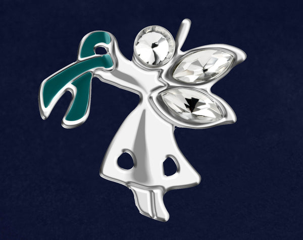 25 Angel By My Side Ovarian Cancer Ribbon Pins (25 Pins)