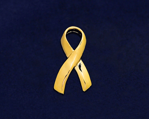 25 Large Gold Childhood Cancer Ribbon Pins (25 Pins)