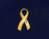 25 Large Gold Ribbon Pins (25 Pins)