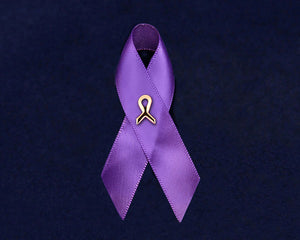 Alzheimer's Awareness Satin Purple Ribbon Pins - Fundraising For A Cause