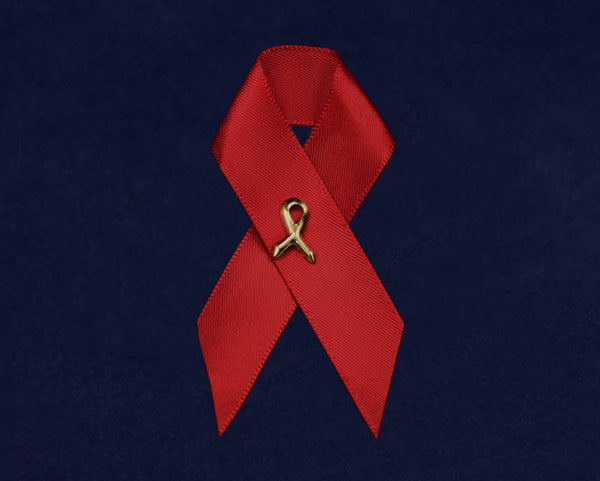 Satin Red Ribbon Awareness Pin
