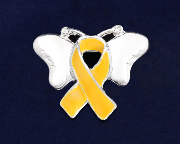 25 Gold Ribbon Childhood Cancer Awareness Butterfly Pins (25 Pins)