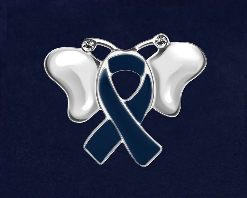 Butterfly Dark Blue Ribbon Awareness Pins - Fundraising For A Cause