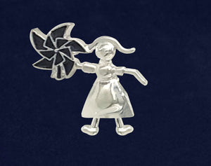 Child Abuse Awareness Girl Holding Pinwheel Pins - Fundraising For A Cause