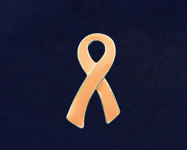 50 Large Flat Peach Ribbon Awareness Pins (50 Pins)