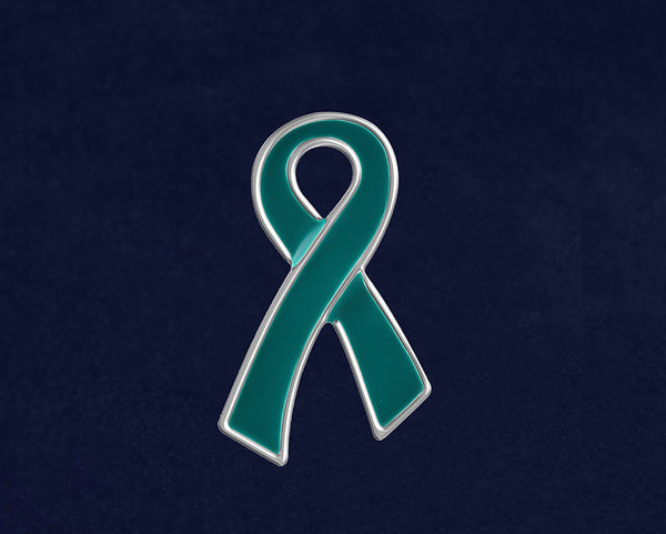 50 Large Flat Teal Ribbon Pins (50 Pins)