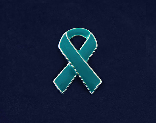 25 Teal Ribbon Awareness Pins (25 Pins)
