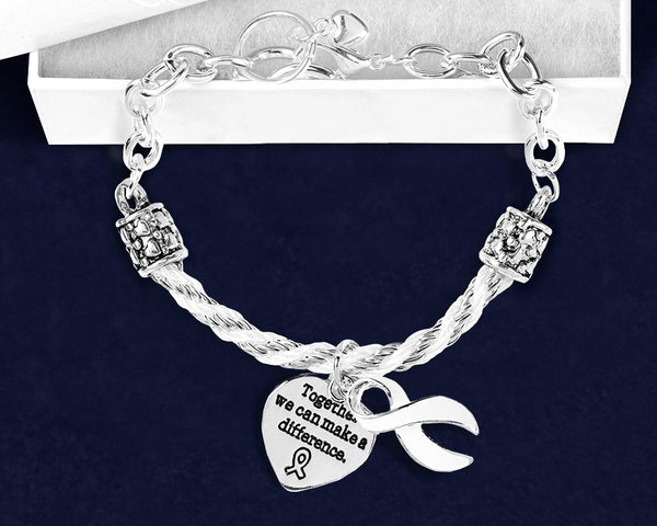Partial Rope White Ribbon Bracelet - Fundraising For A Cause