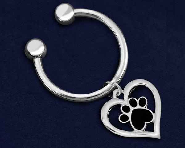 Paw Print Heart Key Chain - Fundraising For A Cause
