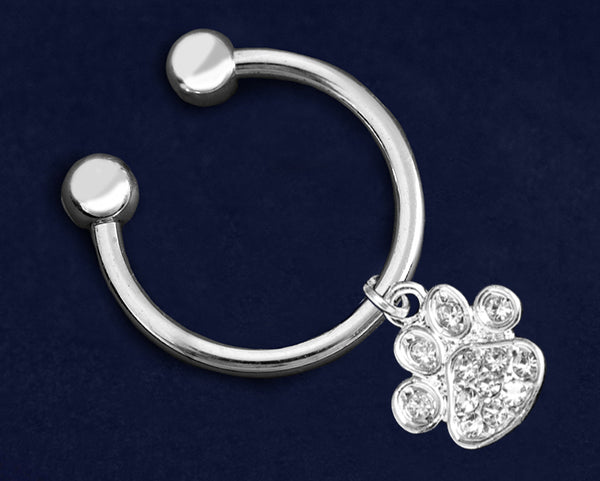 Paw Print Shaped Charm with Crystals Key Chain - fundraisingforacausecom