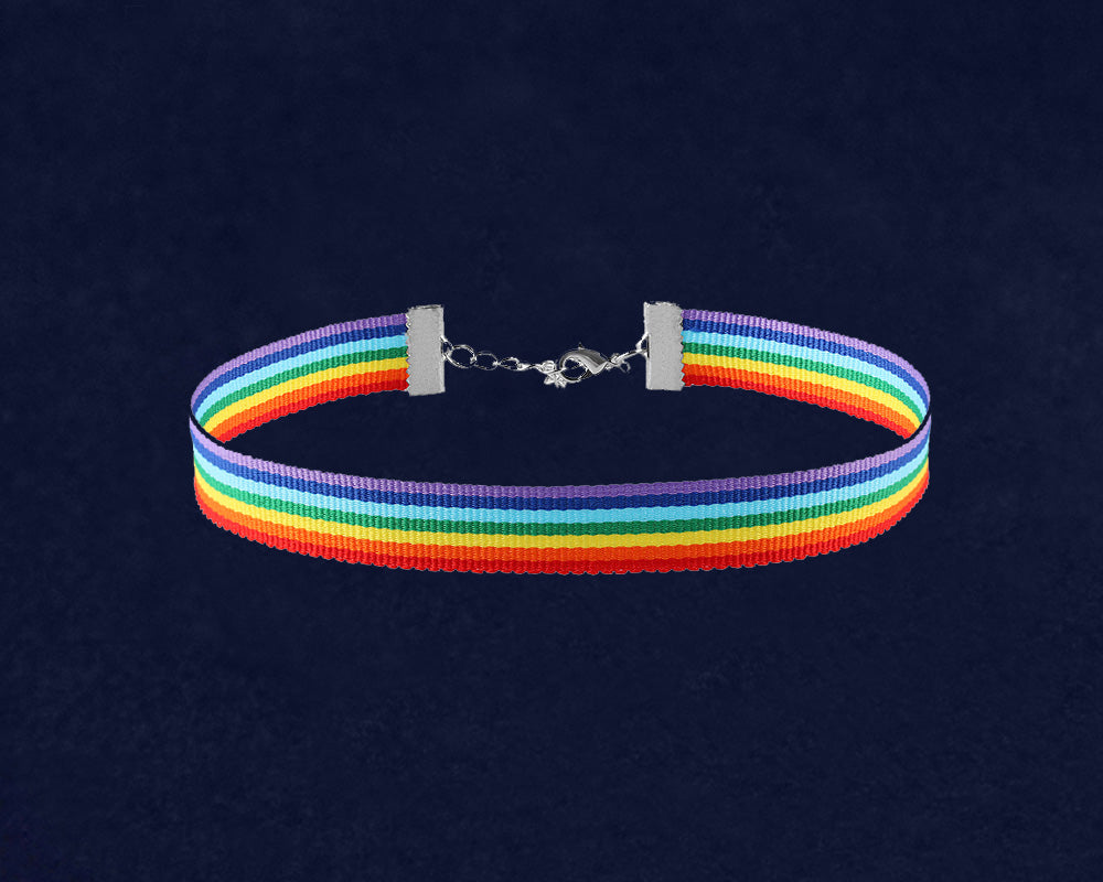 Rainbow Striped Choker Necklace