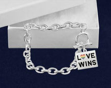 Load image into Gallery viewer, Rainbow LGBTQ Pride Rectangle Love Wins Chunky Charm Bracelets - Fundraising For A Cause