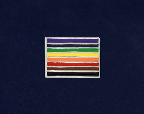 25 Philadelphia 8 Stripe Pride Rainbow Rectangle Pins (25 Pins)