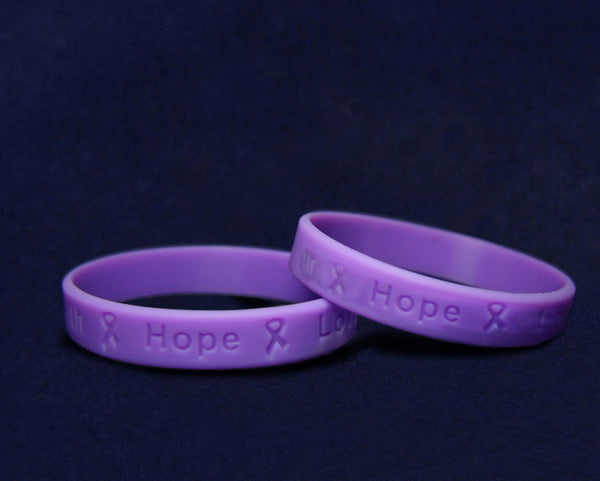 50 Adult Purple Awareness Silicone Bracelets (50 Bracelets)