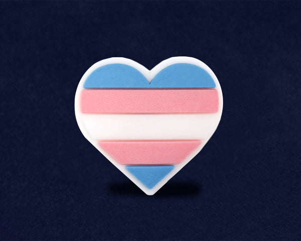 50 Silicone Transgender Pride Heart Pins (50 Pins)