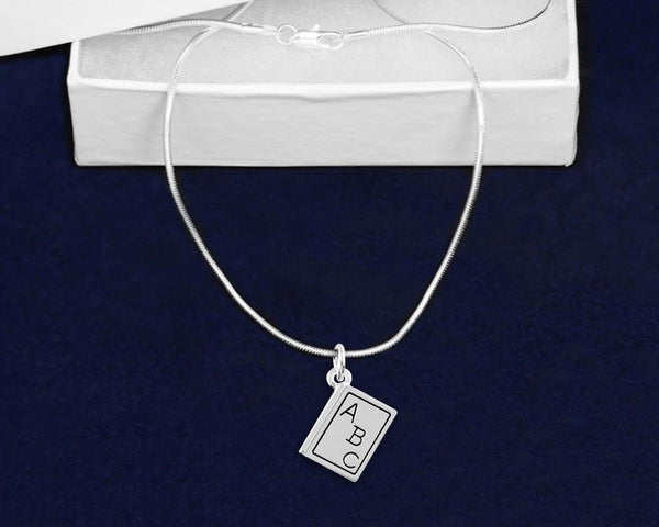 Silver ABC Book Necklace - Fundraising For A Cause
