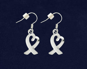 Silver Heart Ribbon Hanging Earrings - Fundraising For A Cause