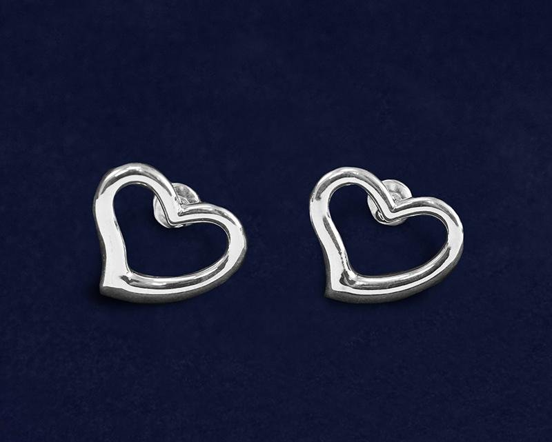 Silver Open Heart Stud Earrings - Fundraising For A Cause