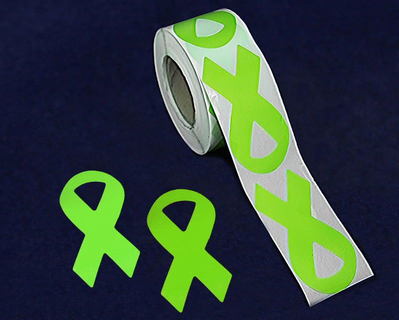 250 Large Lime Green Ribbon Stickers (250 Stickers) - fundraisingforacausecom
