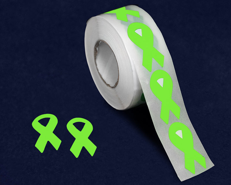 Small Lime Green Ribbon Stickers - Fundraising For A Cause