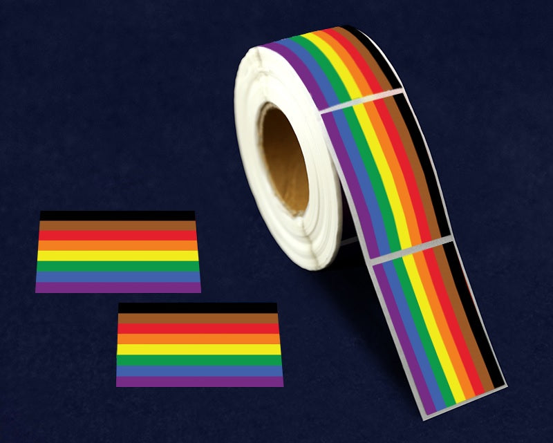 500 Rectangle Philadelphia 8 Stripe Rainbow Gay Pride Flag Stickers (500 Stickers)