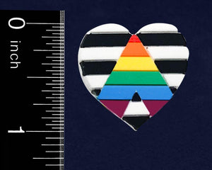Straight Ally LGBTQ Gay Pride Heart Silicone Pins - Fundraising For A Cause