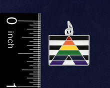 Load image into Gallery viewer, Straight Ally LGBTQ Pride Rectangle Flag Black Leather Cord Bracelets - Fundraising For A Cause