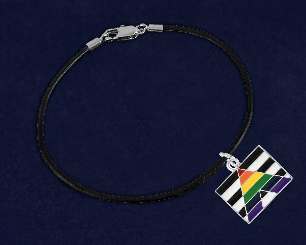 Straight Ally LGBTQ Pride Rectangle Flag Black Leather Cord Bracelets - Fundraising For A Cause