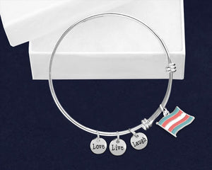 Transgender Flag Charm Retractable Bracelets - Fundraising For A Cause