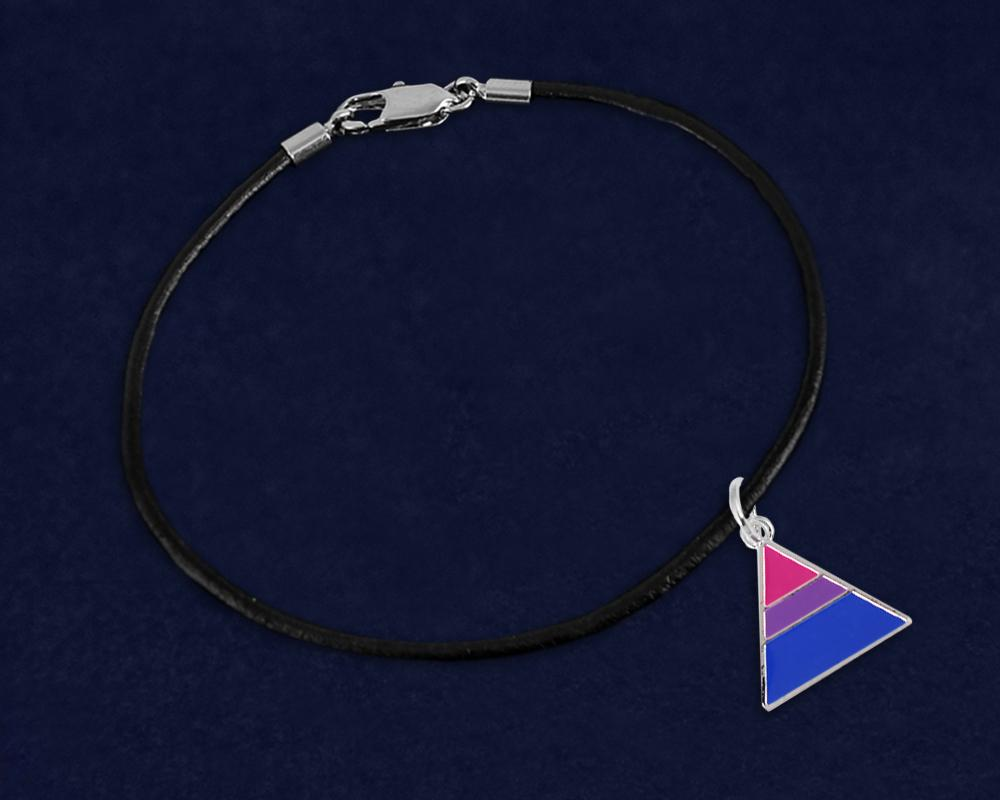 Triangle Bisexual Leather Cord Bracelets - Fundraising For A Cause
