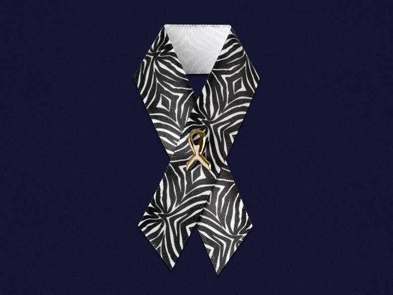 Zebra Print Satin Ribbon Awareness Pins - Fundraising For A Cause
