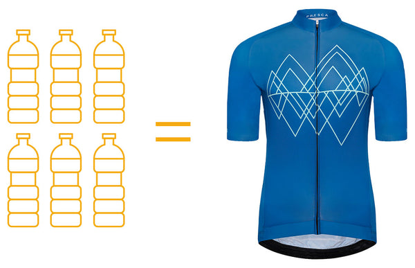 Each Presca Sustainable cycling jersey equals 6 x 1 litre plastic bottles