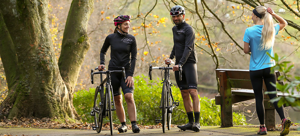 Presca Sustainable Cycling Jersey, Bib Shorts and Running Shirt in use