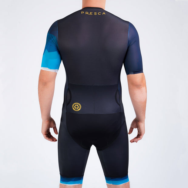 Navy Blue Geometric Male Sustainable Endurance Tri Suit Back