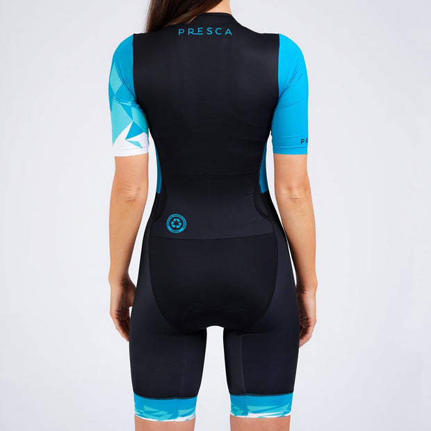 Navy Blue Geometric Female Sustainable Endurance Tri Suit Back