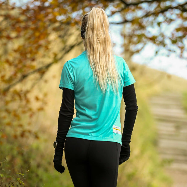 Runner In Woods Wearing Plant Female Fully Recycled and Recyclable Sports T-shirt Back