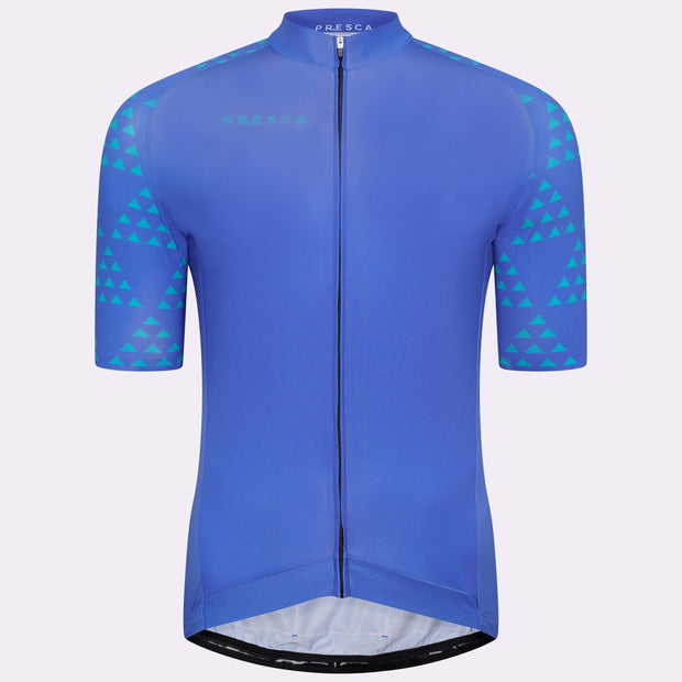 Grand Tour Short Sleeve Cycling Jersey Geo Male - Sea Blue Forest