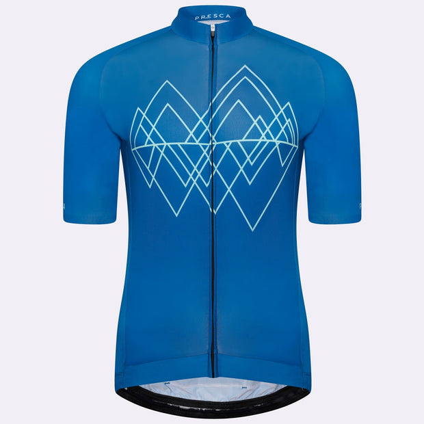 Grand Tour Short Sleeve Cycling Jersey Geo Male - Blue Peak